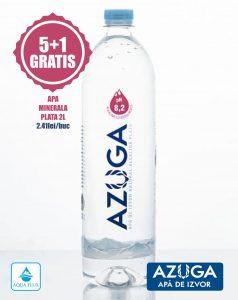 Apa alcalina plata 2L Azuga Pachet Promo 5+1 gratis